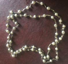 Vintage Mexican Silver Ornate Pierced Bead Elongated Filigree Link Necklce | eBay