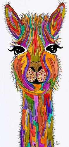 Whimsical Llama named Lucy. Finished 10-1-17. A 12-pack of note cards are available for $23.00. Pillows, mouse pads, light switch covers, mugs, canvas art, totes, trivets, clothing and much more are available of all my designs.