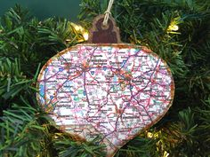 Your place to buy and sell all things handmade Wooden Christmas Ornaments, Rustic Christmas, North Carolina Map, Music Ornaments, Christmas Music, Charlotte Nc, Durham, Twine, Seasons