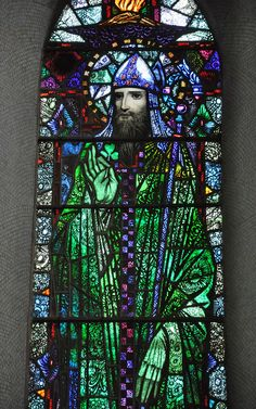 glitzandgrandeur:  Stained Glass - Church Of Christ The King, Knockmore, County Mayo, Ireland Photographed by Fergal of Claddagh, Flickr http://www.flickr.com/photos/feargal/6870279325/ LOVE the green robe!  Green hands too?  By Harry Clarke, patron saint of this blog.