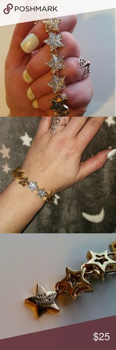 Betsey Johnson glitter stars bracelet Never worn. The clasp is magnetic, so it is easy to put on, even by yourself. Very sparkly and eye catching! Some serious wrist bling going on here. :) Betsey Johnson Jewelry Bracelets