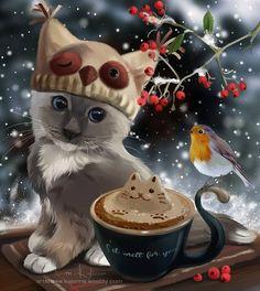 Winter Cappuccino by Kajenna on Deviantart Kittens Cutest, Cats And Kittens, Cute Cats, Hello Kitty Christmas, Christmas Cats, Anime Animals, Cute Animals, Illustrations, Illustration Art
