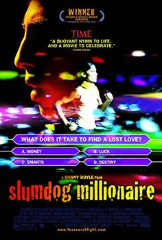 """Directed by Danny Boyle, Loveleen Tandan. With Dev Patel, Freida Pinto, Saurabh Shukla, Anil Kapoor. A Mumbai teen reflects on his upbringing in the slums when he is accused of cheating on the Indian Version of """"Who Wants to be a Millionaire? Film Movie, See Movie, Movie Titles, Movie Posters, Bambi Disney, Disney Pixar, Film Fiction, Soundtrack, Best Picture Winners"""