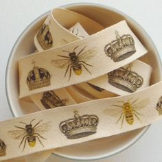 Crown and Bee ribbon or decoupage trim - print your own vintage tape