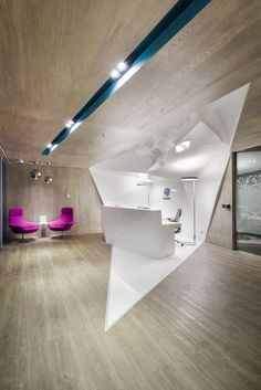 Coalesse Bob Lounge Chairs and Await Table at the Geodis Offices in Mexico City via Office Snapshots.