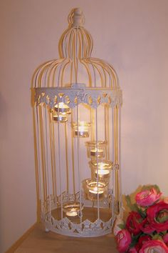 VINTAGE CREAM BIRD CAGE WEDDING TEA LIGHT HOLDER SHABBY CHIC GARDEN LANTERN | eBay