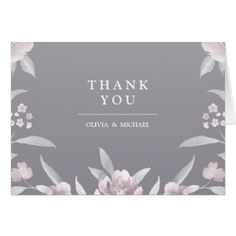 #wedding #thankyoucards - #Elegant gray floral Chinoiserie thank you Card