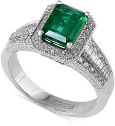 Brasilica by EFFY Emerald (1-3/8 ct. t.w.) and Diamond (3/8 ct. t.w.) Emerald-Cut Ring in 14k White Gold on shopstyle.com