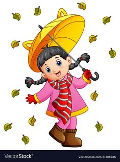 Happy girl under umbrella vector image on VectorStock Learning Spanish For Kids, Math For Kids, Fall Crafts For Kids, Diy And Crafts, Christmas Treat Bags, Pumpkin Images, Cute Couple Drawings, Strawberry Shortcake Doll, Cute Cartoon Wallpapers