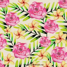 Free vector Watercolor tropical flowers background #11831