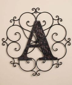 METAL WALL WROUGHT ART BRONZE MONOGRAM MEDALLION PERSONALIZED INITIAL SCROLL in Wall Sculptures | eBay