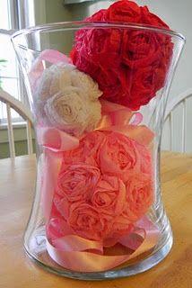Valentine's Decor--Crepe Paper Roses Tutorial