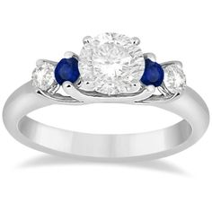 Five Stone Diamond and Sapphire Engagement Ring Setting For Women Hypoallergenic Platinum (0.50ct)