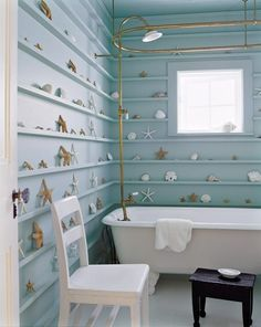 Seashell shelf bathroom...now I know what to do with all my seashells if I had a bathroom like this