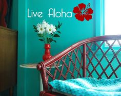 Simple Live aloha with tropical flower - Vinyl wall art decals stickers by 3rdaveshore