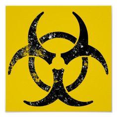 Cool Biohazard Symbols   Distressed biohazard symbol poster