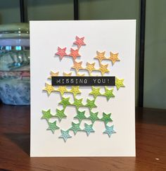 Missing you Scattered stars card