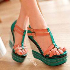 Shoespie Color Contrast Wedge Sandals Women s Jelly Shoes e8f21cb20687