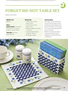 Forget Me Not Table Set Pg 1/3 Plastic Canvas Coasters, Plastic Canvas Crafts, Plastic Canvas Patterns, Straw Holder, Kitchen Canvas, Plastic Canvas Christmas, Art N Craft, Canvas Board, Bargello