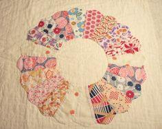 dresden plate quilt | Dresden Plate Vintage Quilt Piece ~ Chenille Bliss