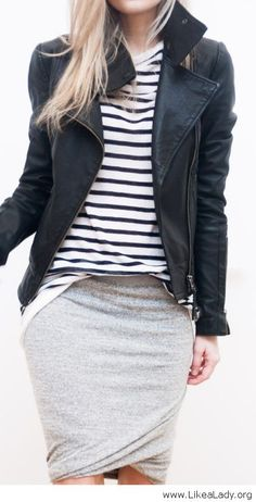 Stripes, jersey and leather - LikeaLady.net