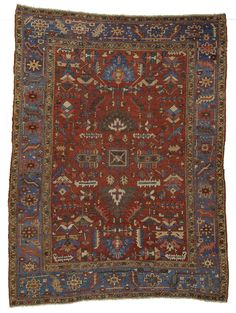 Primitive Antique Persian Heriz! Once asked how she chose the colors to be used for her rug, a Heriz rug weaver pointed at the sunset that was just occurring. Certainly, the antique Heriz rug makers w
