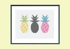 Modern cross stitch pattern  electric pineapples  by SpruceXstitch