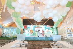 """Mayor Dylan's Charming """"My Own Little Town"""" Themed Party – Stage Soft Colors, Green Colors, Party Themes, Party Ideas, Striped Table, Pastel Palette, White Balloons, Green Party, Wild Ones"""