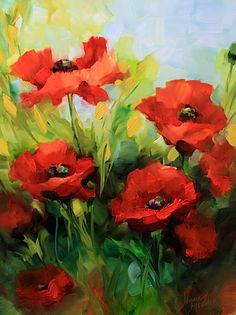 Nancy Medina Art: red poppy flower painting