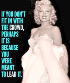 """""""If you don't fit in with the crowd, perhaps it is because you were meant to lead it."""" ~ Marilyn Monroe"""