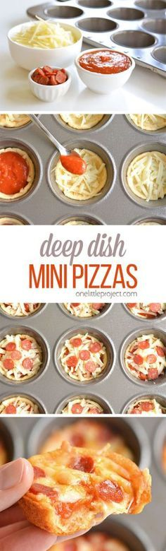 These deep dish mini pizzas are so easy to make and they TASTE AMAZING! They make a great lunch dinner or you could even serve them as an appetizer! The post Deep Dish Mini Pizzas appeared first on Recipes. I Love Food, Good Food, Yummy Food, Mini Pizza Recipes, Lunch Recipes, Party Recipes, Healthy Recipes, Dishes Recipes, Pepperoni Recipes