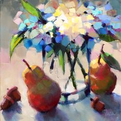 Hydrangeas and Pears by Trisha Adams Oil ~ 12 x 12 Fruit Painting, Oil Painting Flowers, Abstract Flowers, Painting Tips, Abstract Art, Abstract Photography, Artistic Photography, Modern Painting, Selling Paintings
