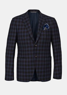 A check jacket for men with pocket square worn by Andrea Berton in his 200 Steps interview