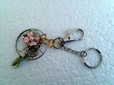 enamel flower Optical lens Key chain pink by KikisCollections, $20.00