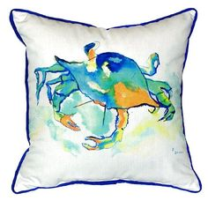 Each one of these bright, Watercolor Orange Crab beach cottage indoor-outdoor pillows is a miniature work of painterly-like coastal art on durable, fade resistant fabric.
