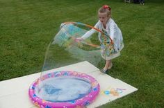 making huge bubbles with a baby pool and a hula hoop i made this bubble solution: 1 1/2 quarts of water 1/2 cup light corn syrup 1 cup liquid dish soap