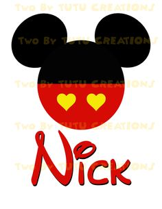 Disney Mickey Valentines Day Personalized DIY Printable Image For Iron On Transfer.