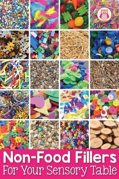You are going to love this huge free printable list of ideas for your sensory table. This list features non-food fillers and mix-ins for your sensory table or sensory bin. Perfect for preschool, pre-k, kindergarten, or prep. Your kids will love these fun Sensory Tubs, Sensory Boxes, Baby Sensory, Sensory Play, Toddler Sensory Bins, Sensory Diet, Kindergarten Sensory, Preschool Classroom, Classroom Activities