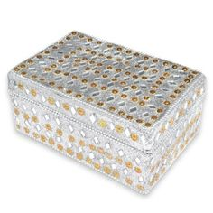 Silver Mirrored Jewelry Box for Girls
