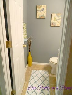 DIY {Half Bath} Makeover for {Under $100!} good idea for remodel of our half bath to move toilet to the side?