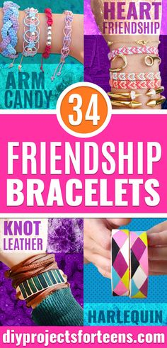 DIY Friendship Bracelets - How to Make A Friendship Bracelet Tutorial - Instructions for Woven, Beaded, Leather and String - Cheap Embroidery Thread Ideas - DIY gifts for Teens, Tweens, Kids and Friends Diy Rainbow Friendship Bracelets, Friendship Bracelet Knots, The Bangles, Armband Diy, Ribbon Bracelets, Braided Bracelets, Bracelet Crafts, Diy Buttons, Summer Bracelets