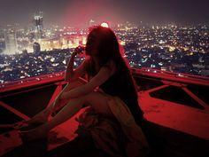 Imagem de girl, city, and night