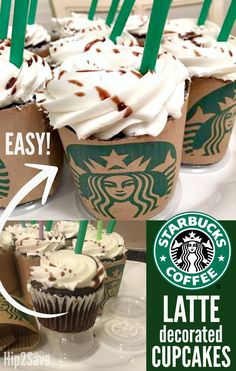 Starbucks Fans! Turn Ordinary Cupcakes into Starbucks Lattes… – Hip2Save Starbucks Cupcakes, Coffe Cupcakes, Teen Cupcakes, Birthday Cupcakes, 13th Birthday Cakes, Teacher Cupcakes, Sweet 16 Cupcakes, 13th Birthday Parties, Cupcake Cakes