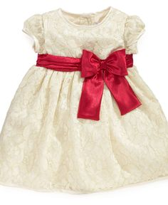 Sweet Heart Rose Baby Dress, Baby Girls Specials Occasion Dress with Red Sash - Macy's