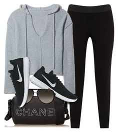 """""""Gym Day"""" by monmondefou ❤ liked on Polyvore featuring JunaRose, Chanel, NIKE, Gucci, black and sporty"""