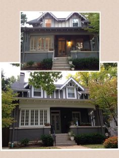 before and after exterior paint project on our bungalow