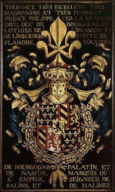 1445.Gent, Sint-Baafskathedraal blazoen Filips de Goede B STB 427. Hugues de Boulogne (?), Blazoen van de Orde van het Gulden Vlies,1445,7e kapittel,Filips de Goede, stichter van de orde in 1430; inv nr:427 N.1.