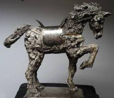 """Saatchi Art Artist Mateo Kos; Sculpture, """"Horse warrior 2 dim: 38x41x10cm material: modelling mass(das masa),metal,grout"""" #art"""
