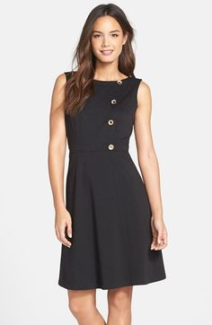 Ellen Tracy Button Detail Ponte Fit & Flare Dress available at #Nordstrom