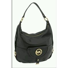 Michael Kors Fulton Leather Shoulder Bag Black found on Polyvore featuring bags, handbags and shoulder bags